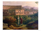 Johann Wolfgang Von Goethe (1749-1832) Visiting the Colosseum in Rome, circa 1790 Giclee Print by Jacob-Philippe Hackert
