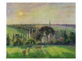 The Church and Farm of Eragny, 1895 Reproduction procédé giclée par Camille Pissarro