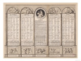 Republican Calendar, 1794 Reproduction procédé giclée
