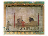 Hanging, of Grooms Feeding Horses, Ink and Watercolour on Silk, Attributed to Jen Jen-Far, Chinese Giclée-tryk
