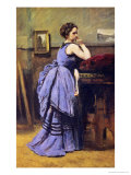 The Woman in Blue, 1874 Reproduction procédé giclée par Jean-Baptiste-Camille Corot