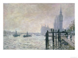The Thames Below Westminster, 1871 ジクレープリント : クロード・モネ