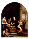 St. Elizabeth of Hungary Tending the Sick and Leprous, circa 1671-74 Giclée-tryk af Bartolome Esteban Murillo