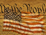 La Constitución y la bandera de EE.UU. Lámina fotográfica por Joseph Sohm