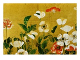 Detail of Poppies Edo Period Screen Giclée-tryk
