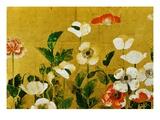 Detail of Poppies Edo Period Screen Giclée-tryk