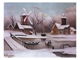 Ice Skaters on a Frozen Pond by Henri Rousseau Giclee-trykk av Geoffrey Clements
