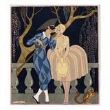 Le baiser d'Arlequin Reproduction procédé giclée par Georges Barbier