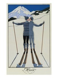 Elskende par i sneen Premium Giclée-tryk af Georges Barbier