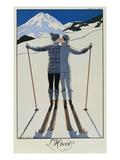 Rakastavaiset lumessa Giclée-vedos tekijänä Georges Barbier