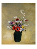 Large Green Vase with Mixed Flowers Giclée-tryk af Odilon Redon