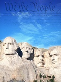 Preamble to US Constitution Above Mount Rushmore Fotografisk tryk af Joseph Sohm