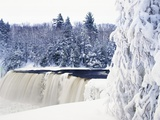 Tahquamenon Falls in Snow Fotografisk trykk av Jim Zuckerman