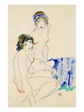 Two Female Nudes by the Water Giclée-tryk af Egon Schiele