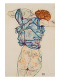 Woman Undressing Giclee Print by Egon Schiele
