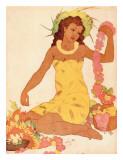 Leimaker, Royal Hawaiian Hotel Menu Cover c.1950s Giclee-trykk av John Kelly