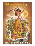 Hawaii, United Air Lines, Hula Dancer Giclée-tryk