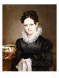 Portrait of a Lady with a Sewing Basket, American School, 19th Century Giclée-Druck