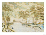 Watercolor and Silk Needlework Pictorial, American or English, circa 1810 ジクレープリント