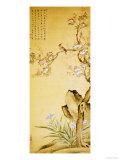 A Bird Standing on a Peach Blossom Tree, 1689 Giclee Print by Wang Wu