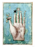 A Hand with Alchemical Symbols Against the Fingers, First Half of the 17th Century Giclée-vedos