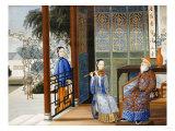 An Elderly Gentleman Listening to a Flautist in an Interior, Chinese School, Mid 19th Century Giclée-tryk