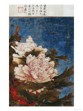 Peonies, Active Mid-14th Century Giclée-tryk af Shi Gang