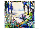 A River Meandering from a Distant Mountain Range at Dusk, with Cypress, Lilies, Poppies and Irises Giclee Print by  Tiffany Studios