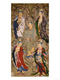 A Very Rare Buddhist Painting of Guanyin and Four Bodhisttvas, Dated Shunzhi Tenth Year (AD1654) Gicléedruk