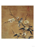 Blue Bird on a Plum Branch with Bamboo (13th/14th Century) Giclée-tryk