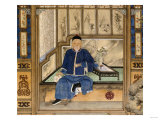 A Bearded Old Gentleman Wearing Blue Winter Clothes, Holding a Snuff Bottle and Stroking a Cat Giclée-tryk