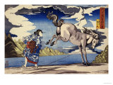 The Strong Woman, Okane, of Omi Province, Subduing a Wild Horse Giclee Print by Kuniyoshi Utagawa