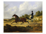 Confidence, Drawing a Gig Driven by a Groom, Dated 1842 Giclée-tryk af John Frederick Herring I