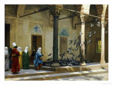Harem Women Feeding Pigeons in a Courtyard Giclee Print by Jean Leon Gerome