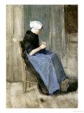 A Young Scheveningen Woman Knitting Giclee-trykk av Vincent van Gogh