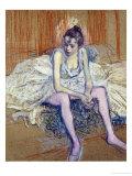 A Seated Dancer with Pink Stockings, 1890 Giclée-Druck von Henri de Toulouse-Lautrec