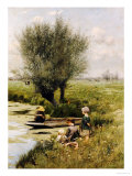 By the Riverside Giclee Print by Emile Claus