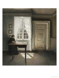 Interiør med syende kvinde Giclée-tryk af Vilhelm Hammershoi