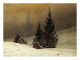 Winter Landscape with a Church Giclée-tryk af Caspar David Friedrich