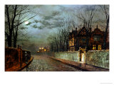 Old English House, Moonlight After Rain, 1883 Giclee Print by John Atkinson Grimshaw