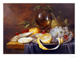 A Roemer, a Peeled Half Lemon on a Pewter Plate, Oysters, Cherries and an Orange on a Draped Table Giclée-Druck von Joris Van Son