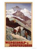 Wengernalp & Jungfraubahn, circa 1900 Giclee-trykk av Anton Reckziegel