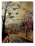A Moonlit Road Giclée-tryk af John Atkinson Grimshaw