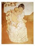 Maternal Caress Giclee-trykk av Mary Cassatt