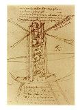 Drawing of a Flying Machine Giclée-tryk af Leonardo da Vinci,