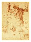 Anatomy Sketches (Libyan Sibyl) Giclée-tryk af Michelangelo Buonarroti,