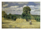 The Harvest at Montfoucault Reproduction procédé giclée par Camille Pissarro