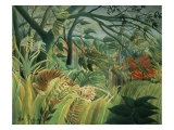 Tropical Storm with Tiger, Surprise Giclee-trykk av Henri Rousseau