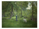 Taking a Walk Giclée-tryk af George Inness