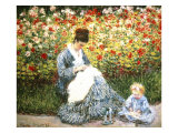 Madame Monet and Child in a Garden Giclee Print by Claude Monet
